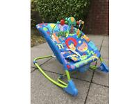 Baby rocker chair bright colours deep seat with straps