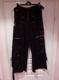 Gents black punk style cargo trousers