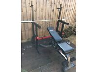 Squat and Bench Press rack with 6ft Olympic Bar, cuffs and Bench