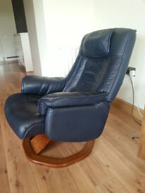 Daneway leather recliner chair navy blue and matching footstool