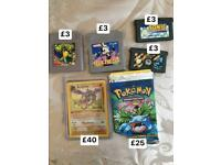 Pokemon Cards / Gameboy and Advance games