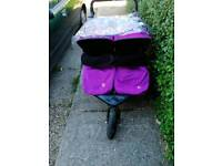 Out and about purple double pushchair