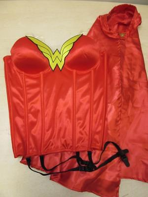 Sexy WONDER WOMAN Corset & Cape Costume or Roll Play sz M Medium Small