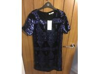 BNWT Vera & Lucy Blue Black Sequin Style Dress Size M/L
