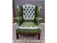 Chesterfield antique green leather queen Anne wingback chair. EXCELLENT CONDITION! BARGAIN!