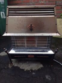 Silver Windsor Free Standing Steel Living Room Gas Fireplace - Full Working Order & Good Condition