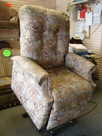 Rise and Recline Electric Tip Out Chair. Floral Fabric