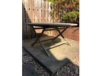 RESERVED Ex B&Q round wooden garden table and 4 chairs free for collection