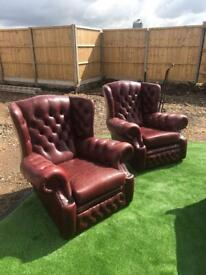 2 chesterfield arm chairs