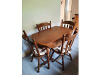 Solid wood folding table and chairs