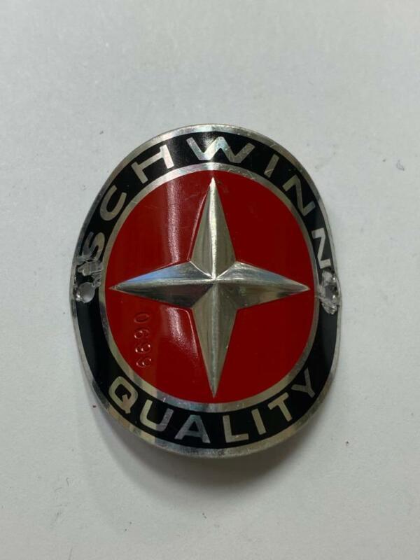 vintage SCHWINN QUALITY bicycle head badge #0899