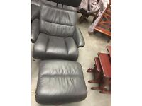 Swivel reclining leather chair adjustable headrest with foot stool