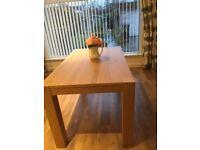 Ikea oak dining table. 140cm long x 80cm wide