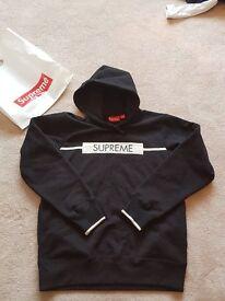 SUPREME Chest Twill Hoodie Black size Medium Never been worn BRAND NEW