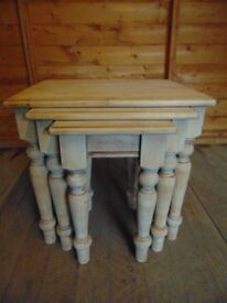 Three solid pine carved nest of tables