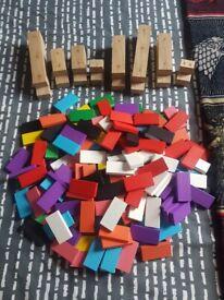 Huge bundle of coloured dominos blocks bricks