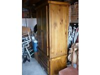 Large Pine Cupboard with drawers, hanging space and shelves