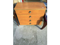 Chest of drawers with 4 drawers on wheels, Collection only Size L 30in D 15in H 28in.