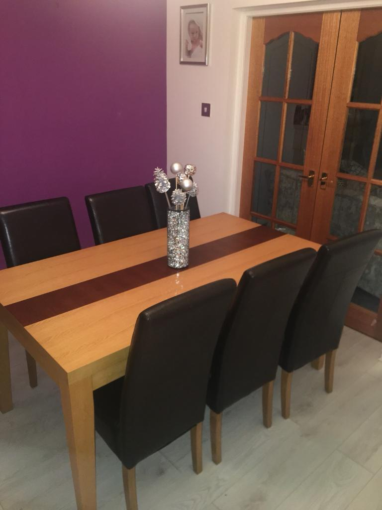 Dining Table X 6 Leather Brown Chairs