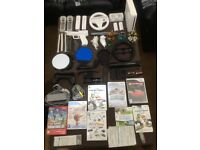 Wii games with console,sky lander pack,and playing kit, not much used,nearly new condition.