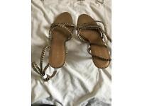 Next gold high heel sandals size 6