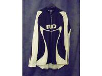 "Moozes Classic Long Sleeved Cycle Jacket. Black & White – Sizes: XS (chest 39"") & XXXL (52"" chest)."