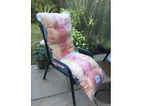 Garden sun lounger padded cushion