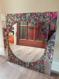 Attractive Silver and Floral Mirror