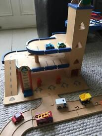 Early Learning complete wooden garage, track and vehicle set