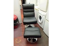 argos - HOME Costa black Leather Effect Swivel Chair and Footstool (like new)