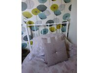 Single metal frame bed with truckle, trundle, under, guest bed.