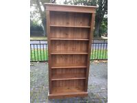 Solid Pine Bookcase (Waxed) - 90cm Wide x 198cm High (6 Shelves - 4 Adjustable)