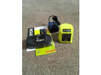 Ryobi one+ lithium 2Ah battery and charger 2018 model