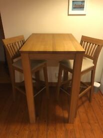 Oak, tall breakfast table and 2 chairs, 80cm x 60cm