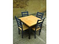 Ikea extendable table and 4 blue/ratten chairs