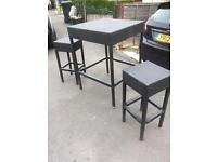 Rattan Table and stools