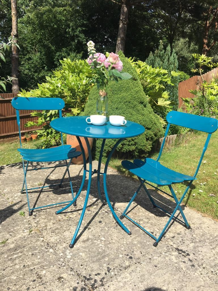 Garden furniture table and chairs bistro set  metal  2 chairs  blue aqua. Garden furniture table and chairs bistro set  metal  2 chairs