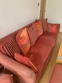 Sofa Set Red 4 seater + Armchair + Footstool