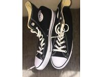 Black and white high top converse size 9