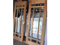 Hardwood internal door with clear bevelled glass