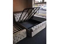 🇬🇧🔥🇬🇧STORAGE OTTOMAN BED LUXURY CRUSHED VELVET HUGE SALE