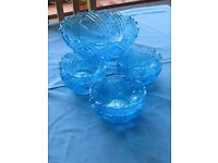 GLASS DESSERT DISHES & SERVING BOWL (1960'S)