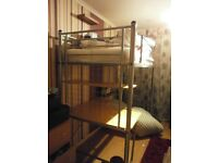 metal bunk bed with mattress