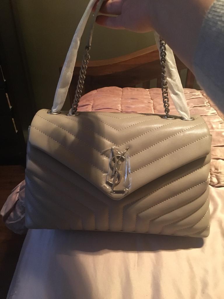 Real Leather Designer Handbag Light Grey Super Quality