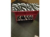 Hand painted pink zebra table tv unit