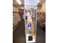 Glass display cabinet (lockable) square 50cm W x 50cm D x 200cm H. 4 glass shelves with lights.