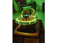 Baby walker with removable toy tray