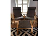 2 IKEA Poäng Oak Chairs with Brown Fabric and matching Footstool
