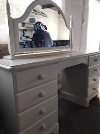 Vintage dressing table, mirror, and stool