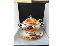 Alcobaca Portuguese Hand Painted China Soup Tureen with China Ladle